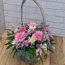 pink and cream basket